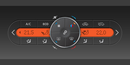 recirculate: Detailed digital air condition control panel design with orange LCD