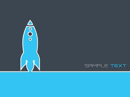 simplistic: Simplistic startup business background design with blue rocket symbol Illustration