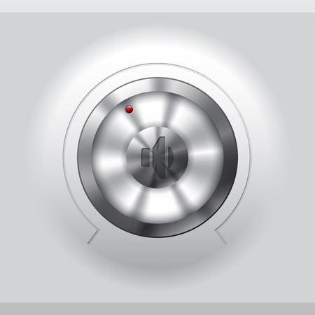 volume knob: Cool metallic volume knob design on light background