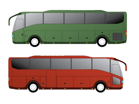red bus: Tourist bus design with single axle in the back side view