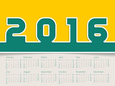 simplistic: Simplistic 2016 calendar design with big bold numbers
