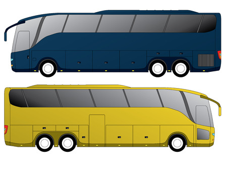 travellers: Tourist bus design with double axle in the back side view