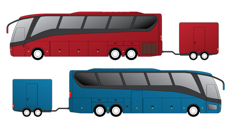 motor coach: Tourist bus design with attached trailer side view