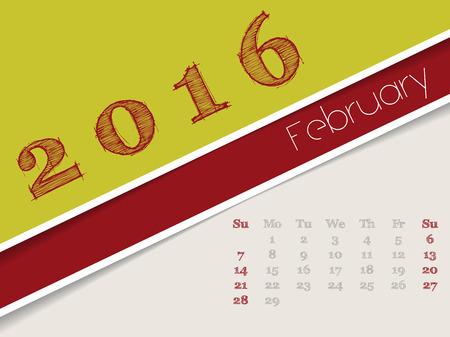 simplistic: Simplistic 2016 calendar design for february month