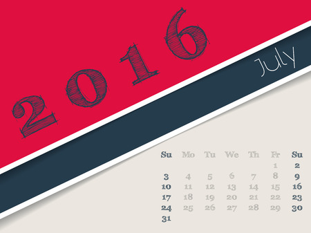 simplistic: Simplistic 2016 calendar design for july month