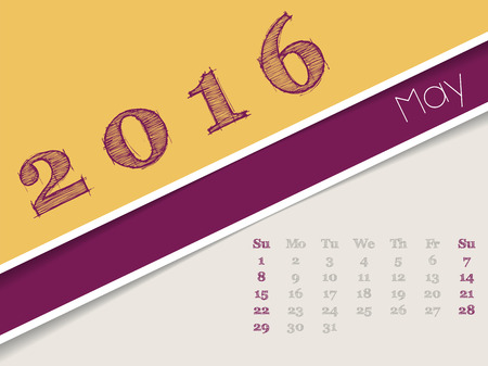 simplistic: Simplistic 2016 calendar design for may month