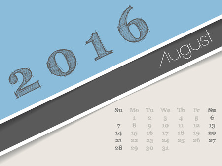 august: Simplistic 2016 calendar design for august month