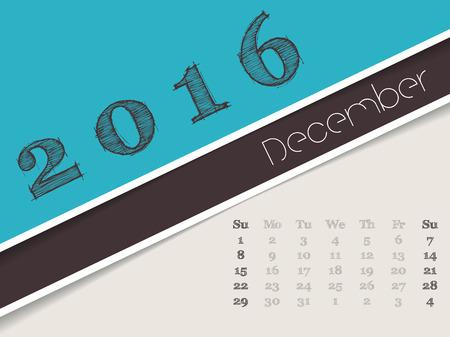 agenda year planner: Simplistic 2016 calendar design for december month Illustration