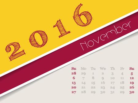 agenda year planner: Simplistic 2016 calendar design for november month Illustration