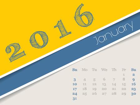 simplistic: Simplistic 2016 calendar design for january month