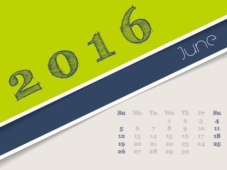 simplistic: Simplistic 2016 calendar design for june month