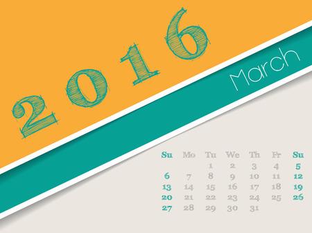 simplistic: Simplistic 2016 calendar design for march month