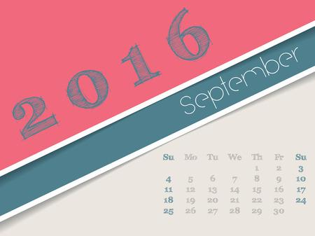 simplistic: Simplistic 2016 calendar design for september month