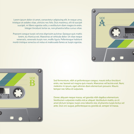 old school: Infographic design with old school cassettes and retro colors