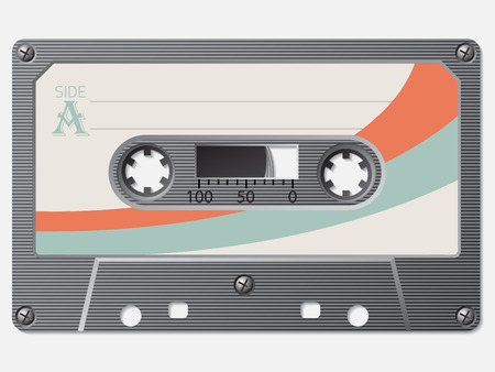 faded: Old school retro cassette with faded label Illustration