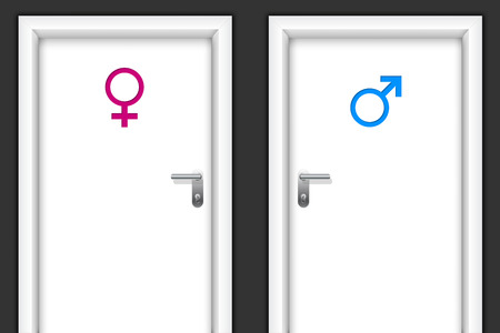 woman handle success: Restroom doors with gender symbols for man and women