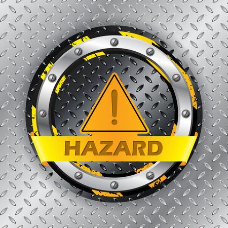 metallic background: Universal warning sign on metallic plate background