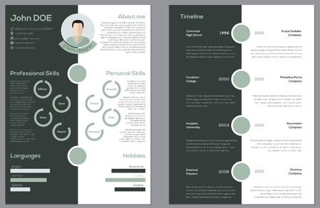 cv: Modern 2 sided cv resume curriculum vitae design Illustration
