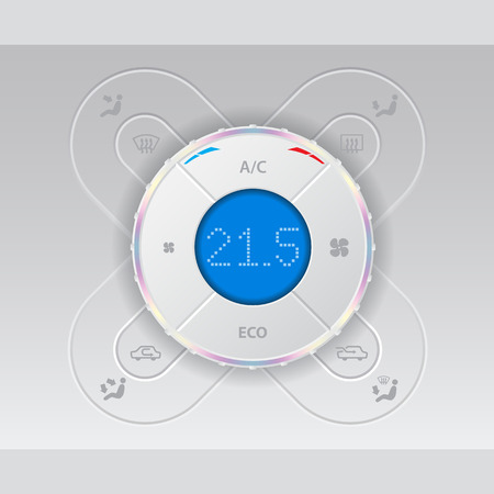 recirculate: Digital car air condition control with cool design and blue lcd Illustration