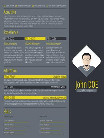 curriculum: Modern cv curriculum vitae resume design with dark background Illustration