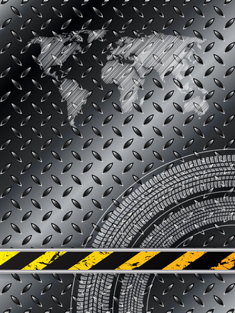 treads: Industrial background in black with tire treads and striped barrier