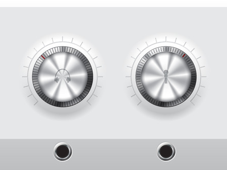 knobs: Volume knobs for outer headphones and or microphone with wite plate