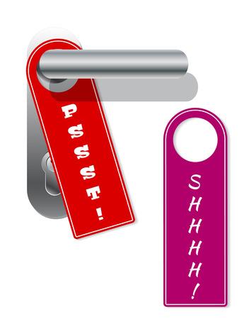 door hanger: Door hanger set with shhhh and pssst text