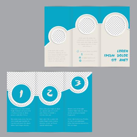 flyers: Cool ring design tri-fold brochure template design with image containers