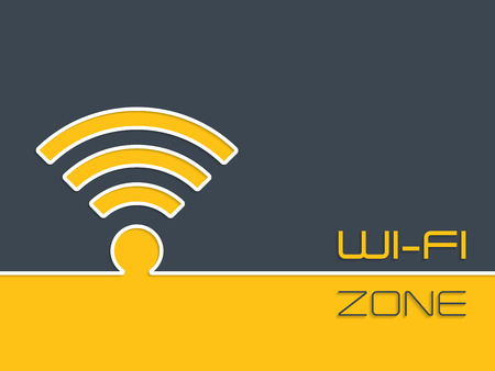 wireless connection: Wireless connection zone advertising background with symbol Illustration