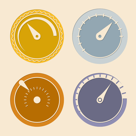 Cool flat download speedometers showing speed on light background Illustration