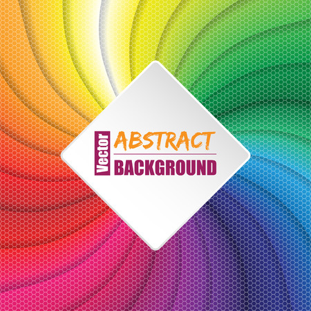 abstract wallpaper: Twirling rainbow square background design with text container and hexagon elements