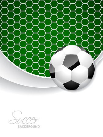 ball game: Soccer brochure design with ball in front and net in background Illustration