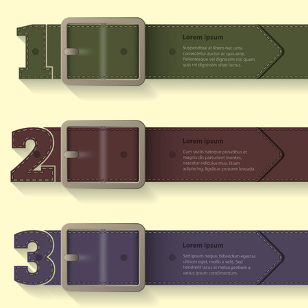 belt buckle: Belt buckle infographic design with shaped numbers Illustration