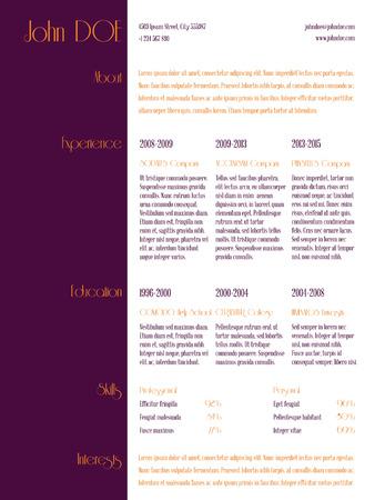 curriculum: Simplistic curriculum vitae cv resume template design with purple stripe