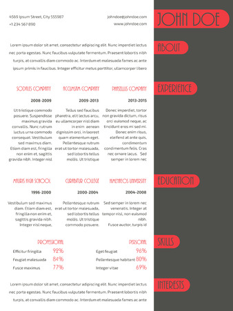 curriculum vitae: Simplistic resume curriculum vitae cv template design with red stripe elements