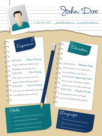Raffreddare nuovo design curriculum curriculum vitae cv con notepapers e matita