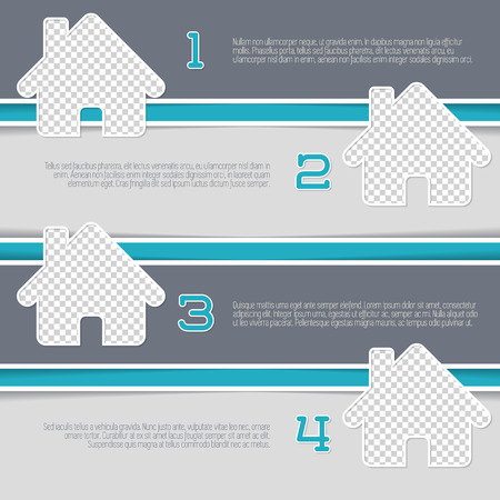 mortgage: Infographic design with house shaped photo containers and numbered options
