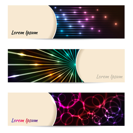 laser tag: Cool banner set of 3 with bursting laser plasma bubbles and beams