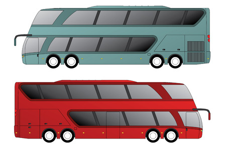 tourist bus: Double decker tourist bus design with double axle in front and rear