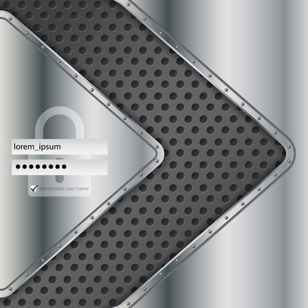 login form: Industrial login screen design with metallic elements Illustration