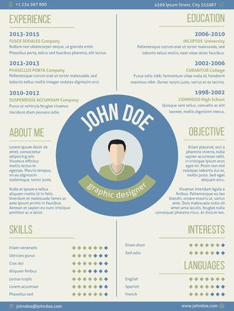 curriculum vitae: Modern resume curriculum vitae cv design with photo and name in center
