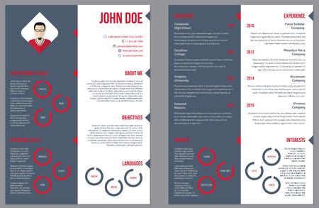 curriculum vitae: Two sided resume curriculum vitae cv design template Illustration