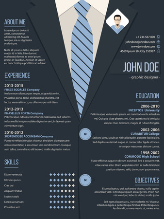 cv: Cool resume cv curriculum vitae template design with business suit background