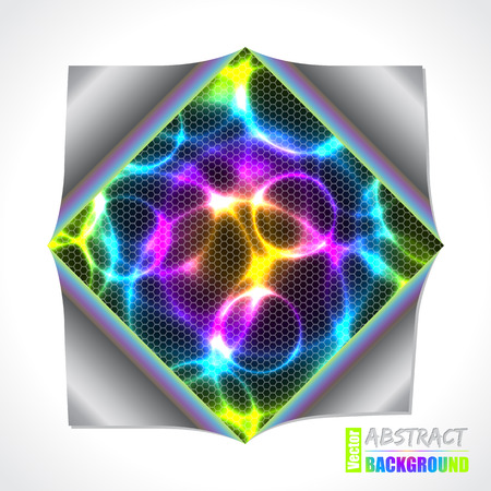 folded paper: Cool color plasma and laser brochure design with folded paper and hexagon texture Illustration