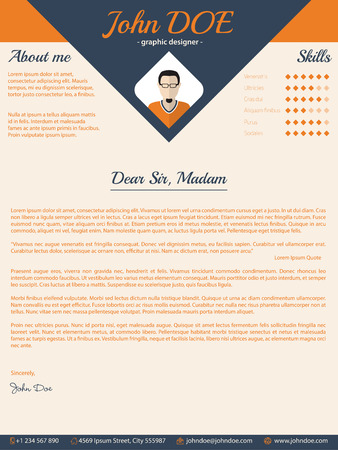 blue arrow cover letter cv resume template design vector