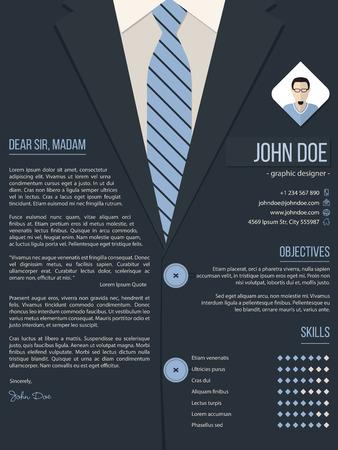 Carta de presentación Diseño fresco plantilla cv curriculum vitae con traje de negocios de fondo