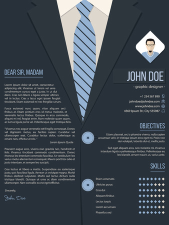 traje formal: Carta de presentación Diseño fresco plantilla cv curriculum vitae con traje de negocios de fondo