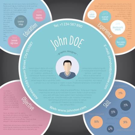 curriculum vitae: Colorful circles resume curriculum vitae cv template design