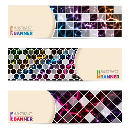 laser tag: Cool banner set of three with abstract laser plasma background
