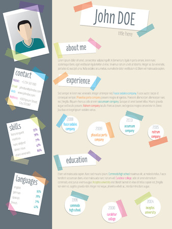 vitae: Cool resume cv curriculum vitae template design with post its and color tapes Illustration